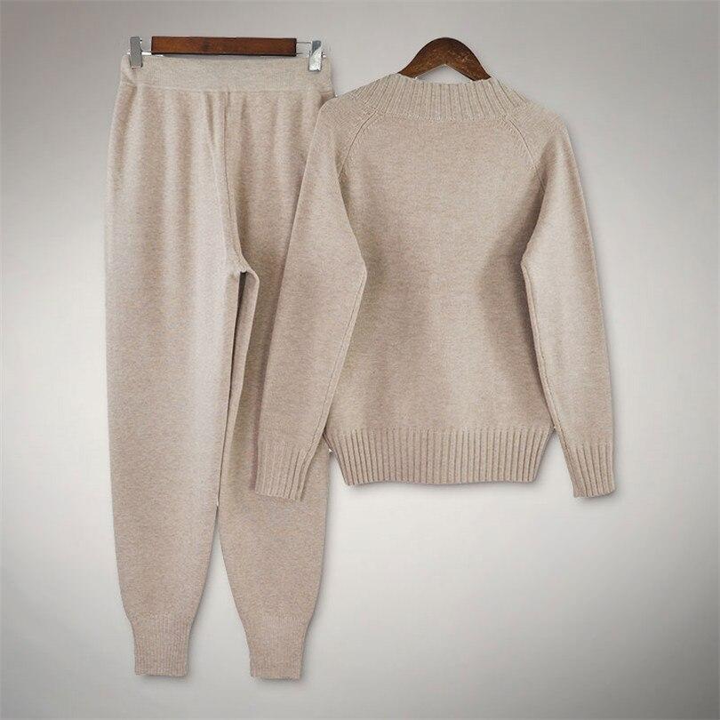 De En Femmes Costumes Chauds Ensemble Manches Grey Chandails Taille Laine apricot V Pièces À Pull Pantalon Chandail 2 Elastique Tricotés Ensembles Longues Col Taotrees 8w0xtAqwC