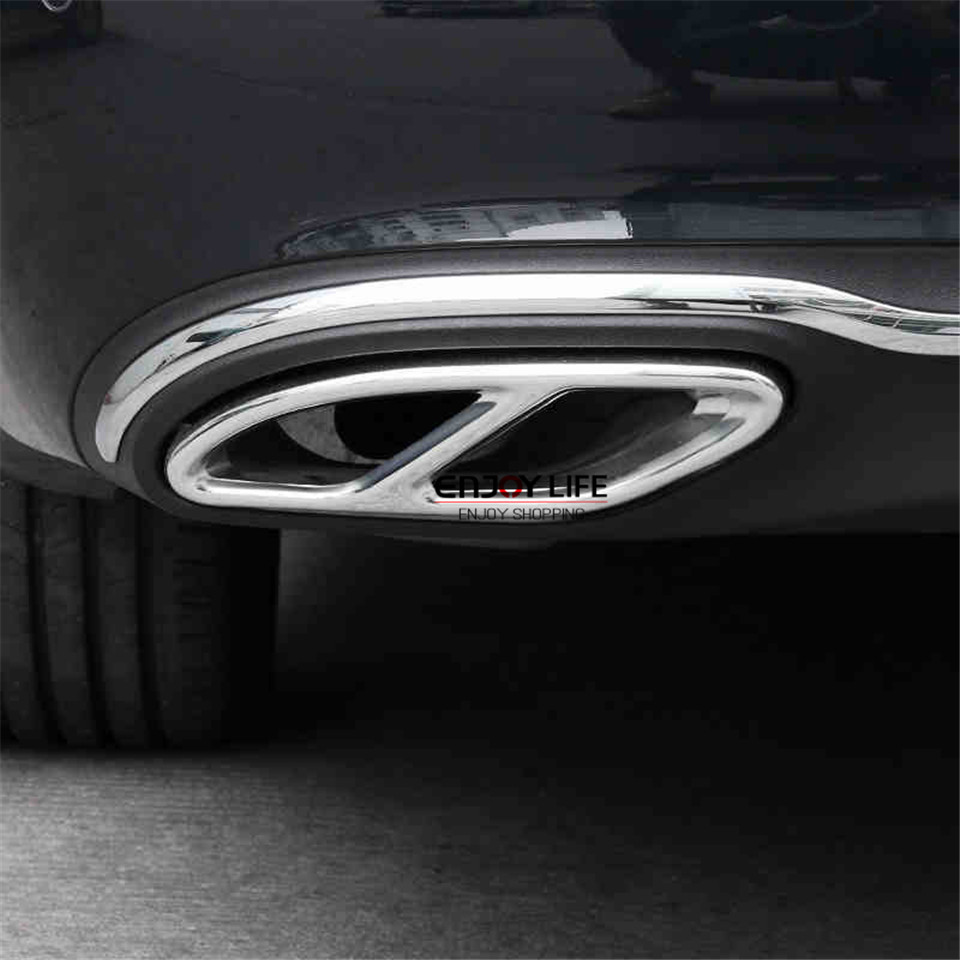 Stainless Steel Rear Dual Exhaust End Pipe Sticker Cover ...