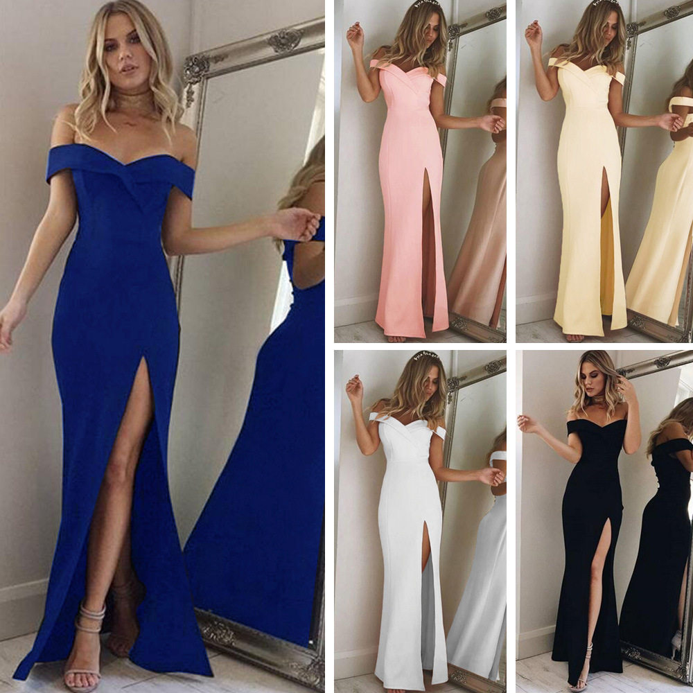 2020 Summer Women Dress Elegant Party Evening Sexy Vestidos Blue Slim Cotton Maxi Dress Female Slash Neck Off Shoulder Long Robe