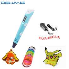 2016 DEWANG Free Shipping magic Orange stereoscopic DIY YY 3d art printer pen for kids Present With 20color 10mABS Filament
