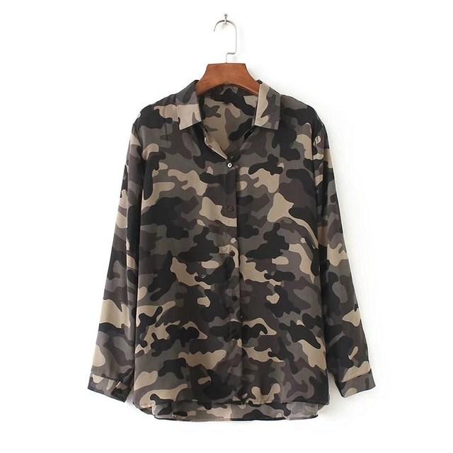 eb9b3c9528739 NSZ Women Chiffon Blouse Camouflage Army Green Print Military Shirt Long  Sleeve Turn Down Collar Ladies Casual Top