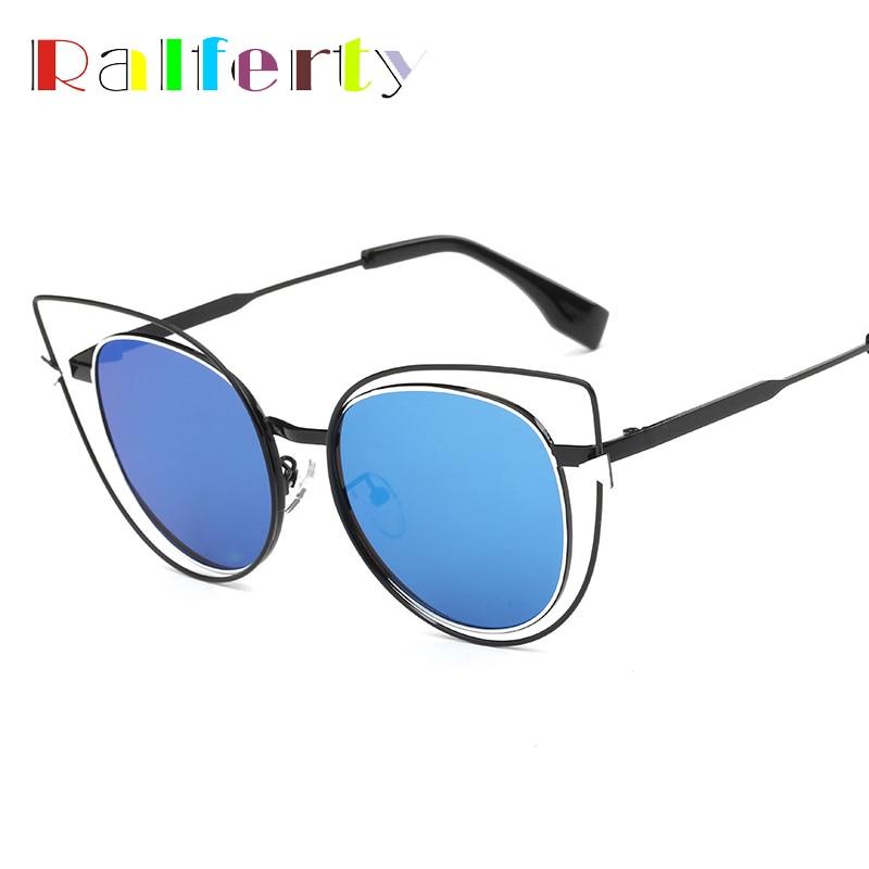 6ed40bc76f691a Ralferty Dames De Mode Cateye lunettes de Soleil Femmes Marque Designer Vintage  Rétro Fil Cadre Cat Eye Lunettes de Soleil Oculos 2247