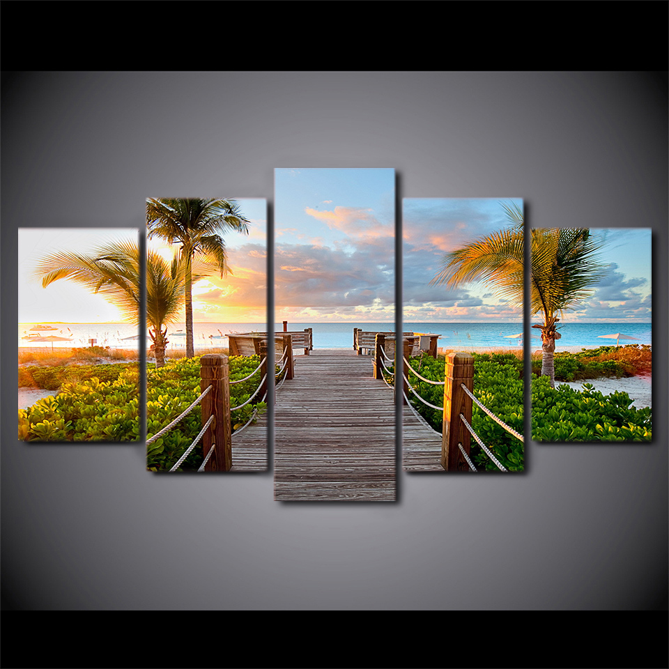 5 Pieces Landscape Poster Coast Board Walk Modern Home Decor For Living Room Canvas Printed Wall Art Canvas Painting Pictures