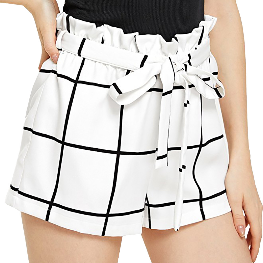 Hot Sale Womens Stripe Grid Mid Loose Waist Tassel Beach Boho   Shorts   New Fashion Korean Street Style Walking Trousers For 2019