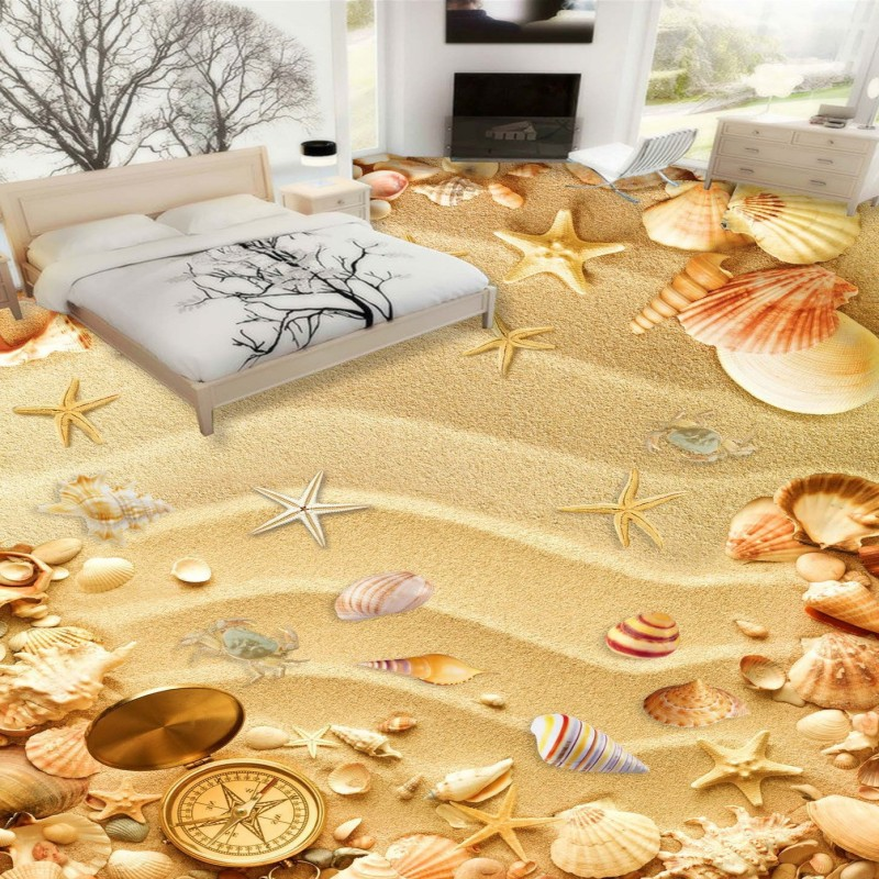 Free shipping custom floor waterproof self-adhesive chinese photo home decoration 3D beach shell sea floor wallpaper mural free shipping marble texture parquet flooring 3d floor home decoration self adhesive mural baby room bedroom wallpaper mural