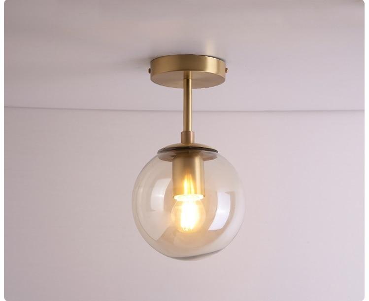 IWHD скандинавский стеклянный шар светодиодный потолочный светильник для балкона крыльца прохода спальни медные Ретро Винтажные потолочные лампы Plafonnier освещение - Цвет корпуса: 1