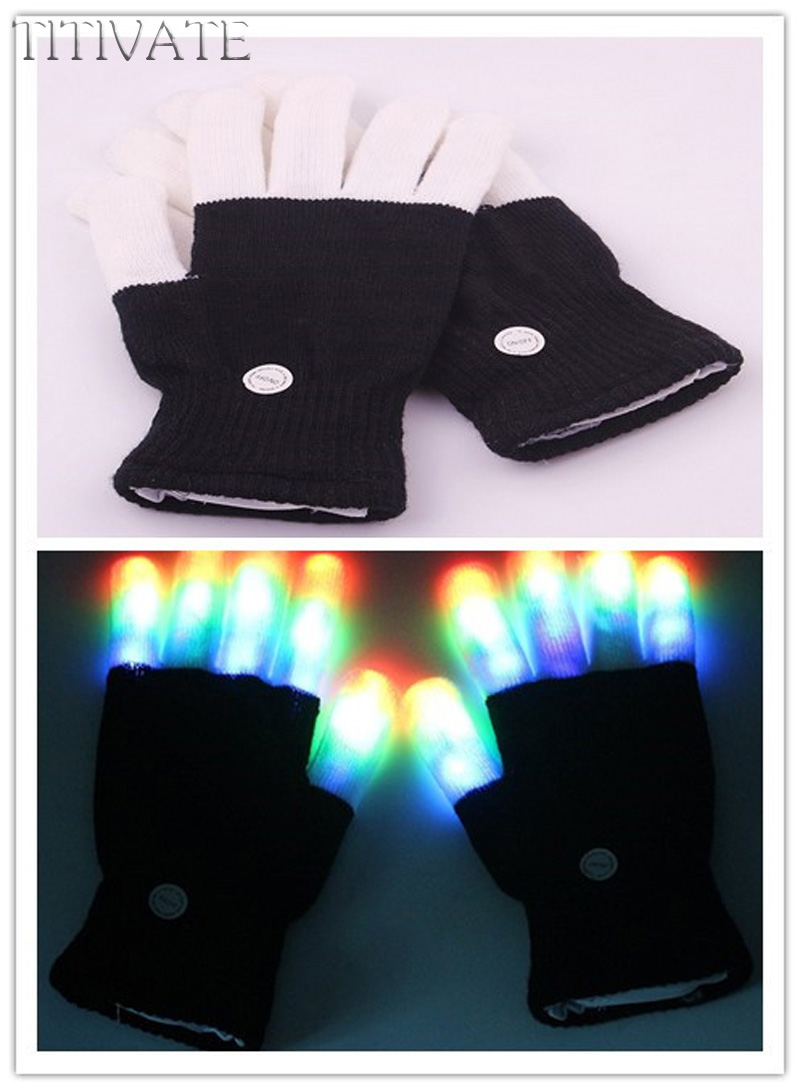 TITIVATE Colorful Magic glove Rainbow Flash Fingertip LED Gloves Unisex Light Up Glow Stick Gloves Mittens S-M