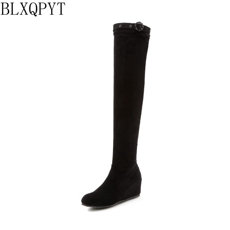 BLXQPYT new women shoes woman boots large size 32-47 autumn winter over knee boot Internal increase high heels party 218-35 все цены