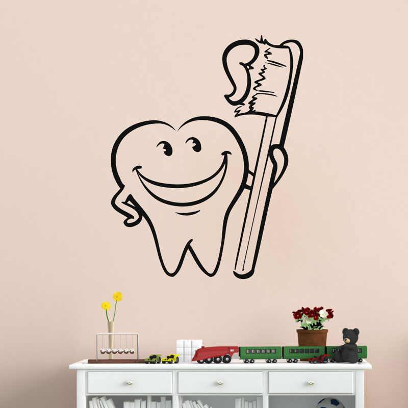 ZOOYOO, divertido cepillo de dientes, pegatina de pared para decoración del hogar, calcomanías de pared de baño, decoración de habitación de bebé para niños, guardería