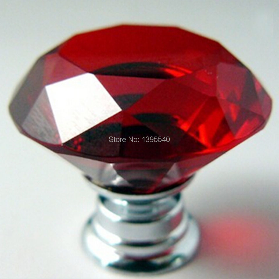 New red crystal cabinet drawer knobs diamond shape - Red kitchen cabinet knobs ...
