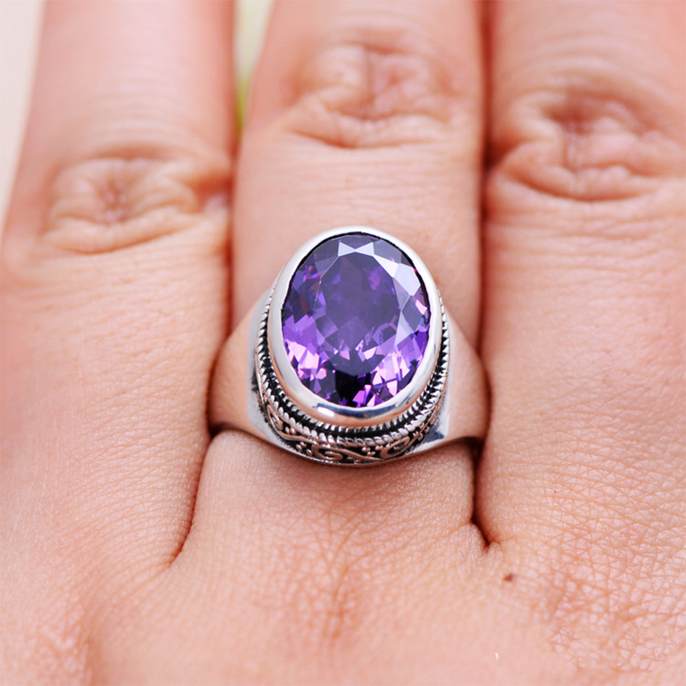 MetJakt Vintage Beautiful Natural Brazilian Amethyst Rings Solid 925 Sterling Silver Ring for Women Light Luxury Wedding Jewelry