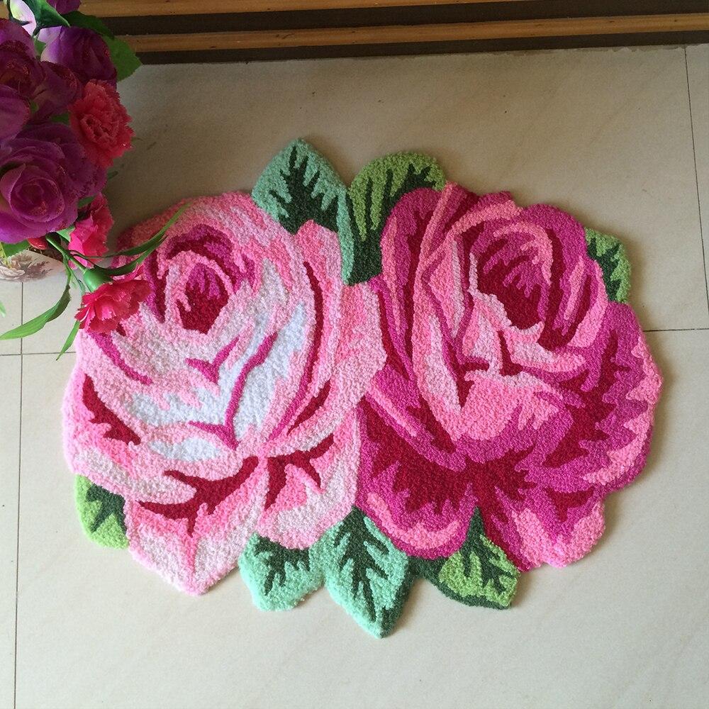 Yazi Paste Handmade Embroidery Rose Carpet Fl Anti Slip Doormat Pink Purple Roses Shape Rug Floor Mat Runner In From Home Garden On