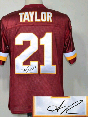 141ee53e0 ... Cheap Vintage White Red Mens Autograph Rugby Jersey 21 Sean Taylor  ,SignatureSigned American Football Jerseys .
