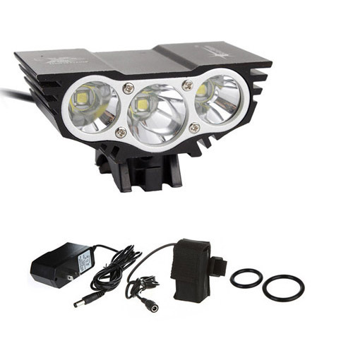 7500 lm 3x CREE T6 waterproof headlamp LED Front Bike Bicycle Light Headlight Light & 4*18650 battery pack worked+Charger