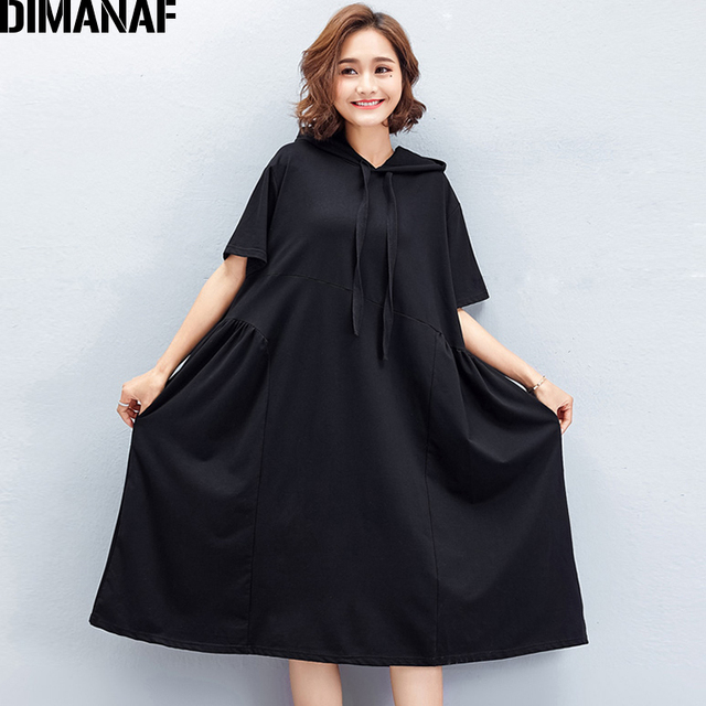 e862648f19d DIMANAF Women Summer Hoodies Dress Big Size Cotton Female Casual Black  Hooded Vestidos Oversized Large Clothing