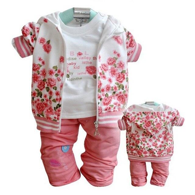 02f6b6526 Hot Floral Baby Girls Clothes Sets Kids Coats T Shirt Pants Sport ...