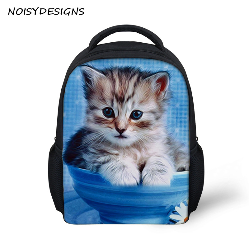 NOISYDESIGNS Cute Animal Dog Cat Printed Children Backpack Mini Children School Rucksack 3D Cartoon Backpack For Boys And Girls