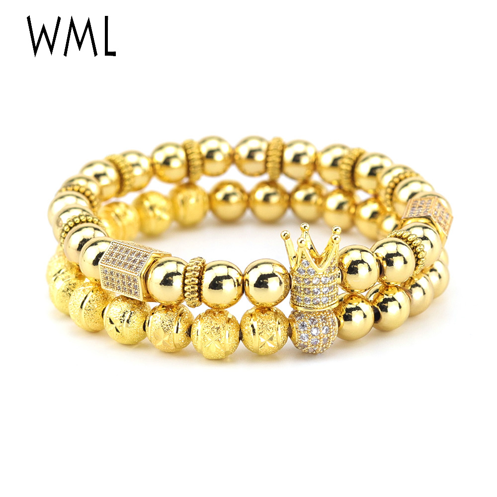 2pcs/set luxury Crown bracelet stacks mens set Pave CZ ball Charms copper beads men Bracelets & Bangles for Jewelry