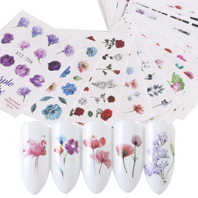 Colorful Floral Nail Sticker Sheets Set