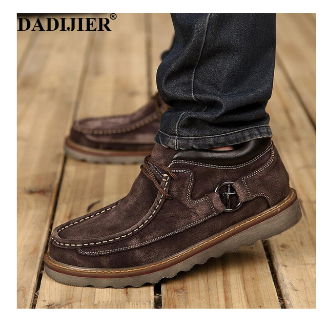 DADIJIER Brand 2018 Genuine Leather 캐주얼 눈 Boots Men Shoes Warm Vintage Classic 남성 Boots 두꺼운 솔 와 면 wyq86