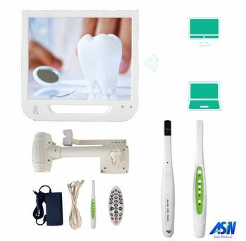 Cámara intraoral dental WIFI HD de 5,0 megapíxeles de buena calidad con pantalla LCD todo en una máquina con soporte de monitor 8G disco USB