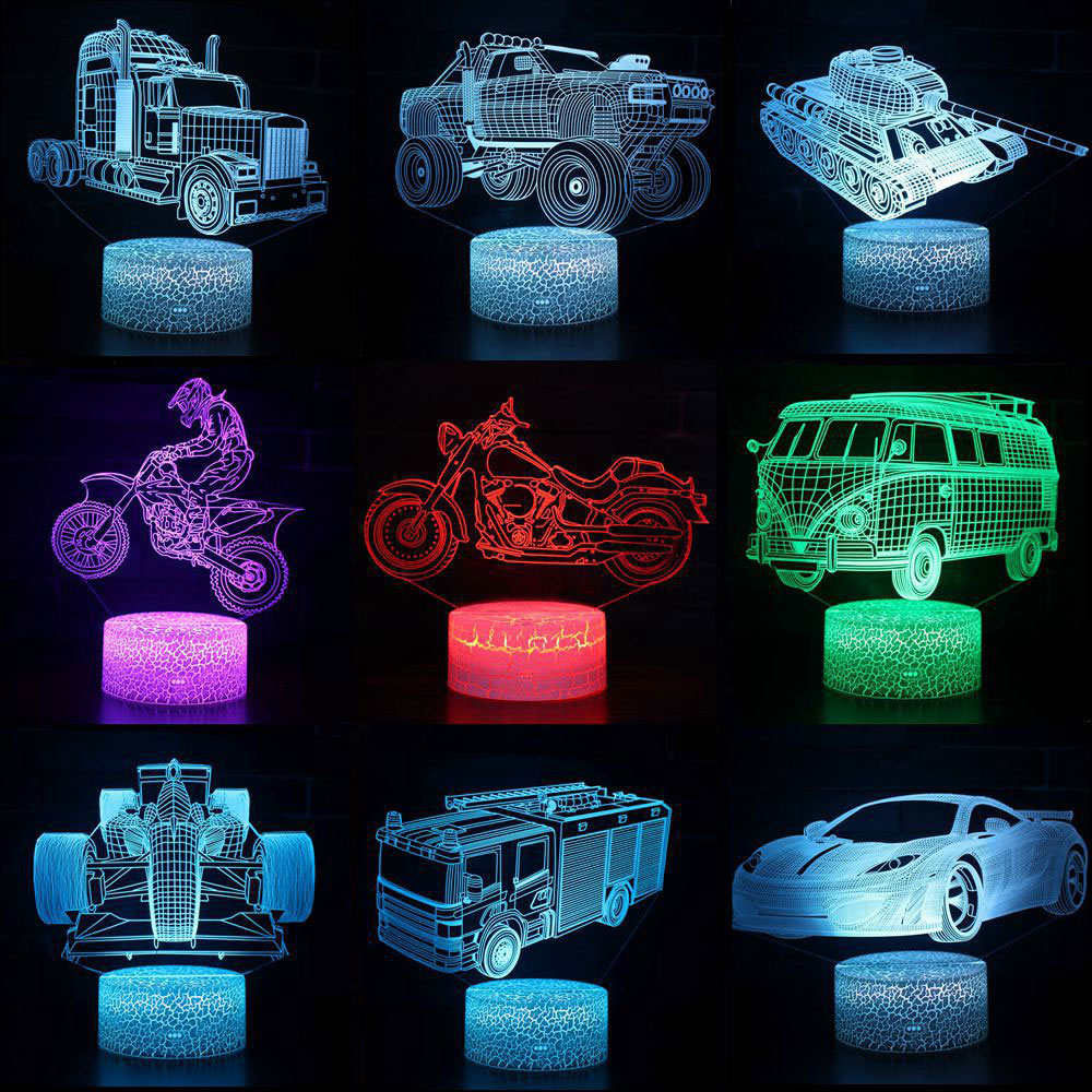 Moto Motocycle 3D LED Night Lights 7 Colors Change Hologram Atmosphere Novelty Lava Lamp For Home Decoration Illusion Gift