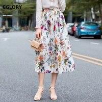 83ef2c47206c91 ... długość plisowane maxi w stylu casual spódnica kobiet. 2019 Summer  Fashion Skirts High Quality Women Beautiful Floral Print High Waist Mid  Calf Length ...