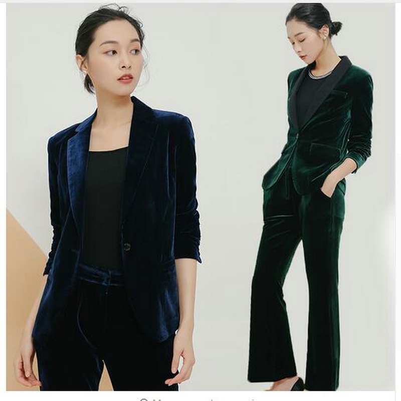 New Elegant Pant Suits Slim Women Office Business Suits Formal Work Wear 2 Piece Sets Dark Green Velvet Ladies Trouser Suits