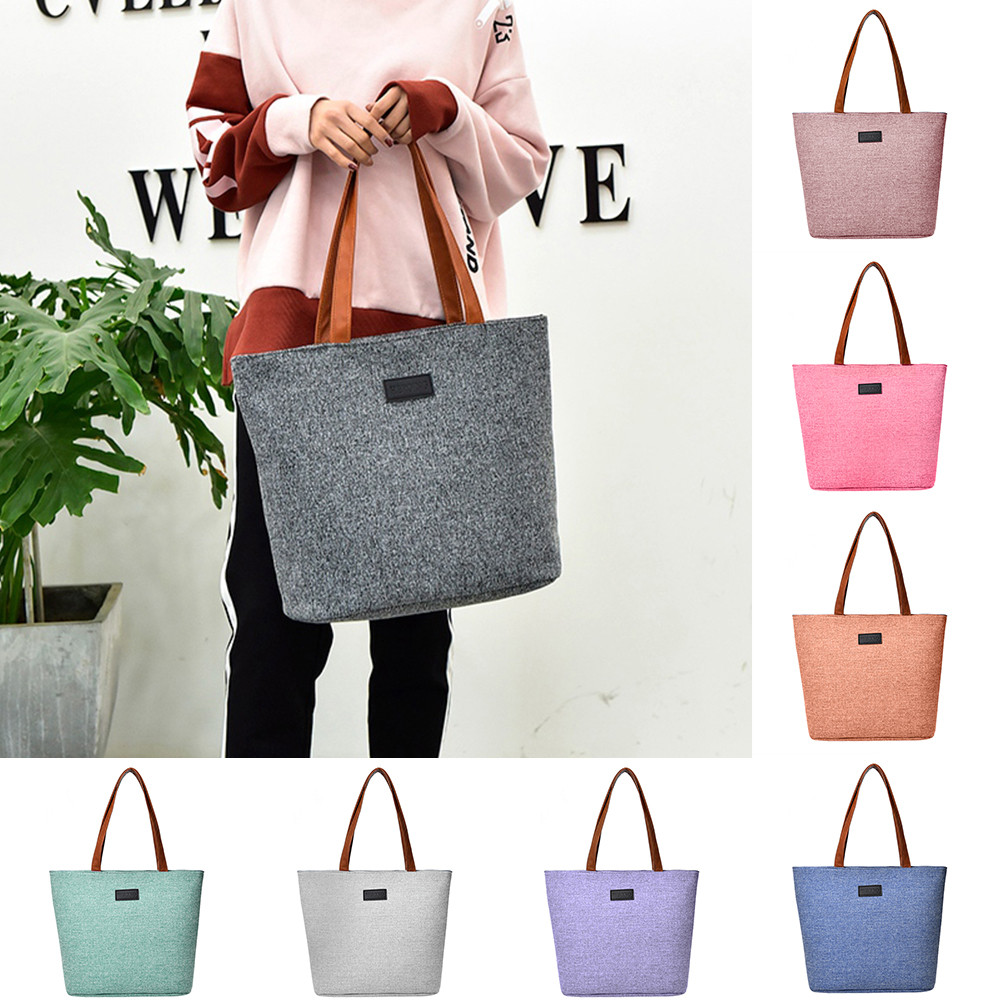 Women's Handbags Shoulder Handbag Canvas Shoulder Bags Handbags Brands Useful Solid Totes