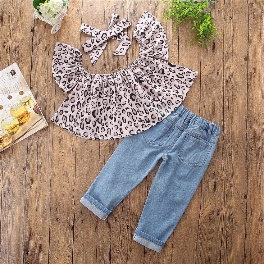 2018 ins hot sale meisjesmode kleding sets Leopard raglan mouw tops + - Kinderkleding - Foto 4