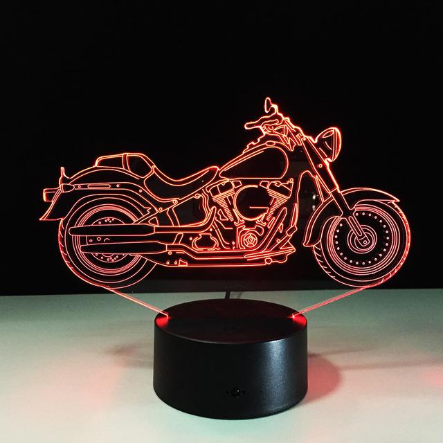 Frete Grátis 1 Piece 3D Design Da Motocicleta Forma Noite Cor-em Mudança da Lâmpada Atmosfera de Luz Decoração Da Casa Com Carregador USB
