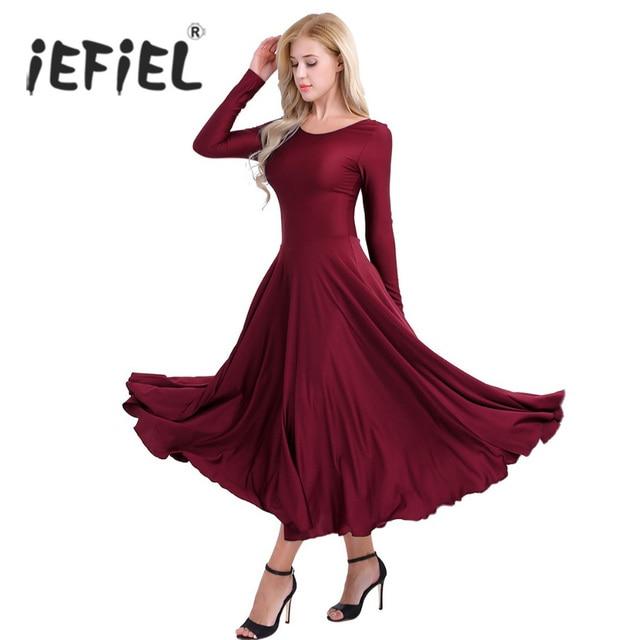 958db6c204a5 iEFiEL Women Adult Costume Ballroom Dance Class Loose Fit Liturgical ...