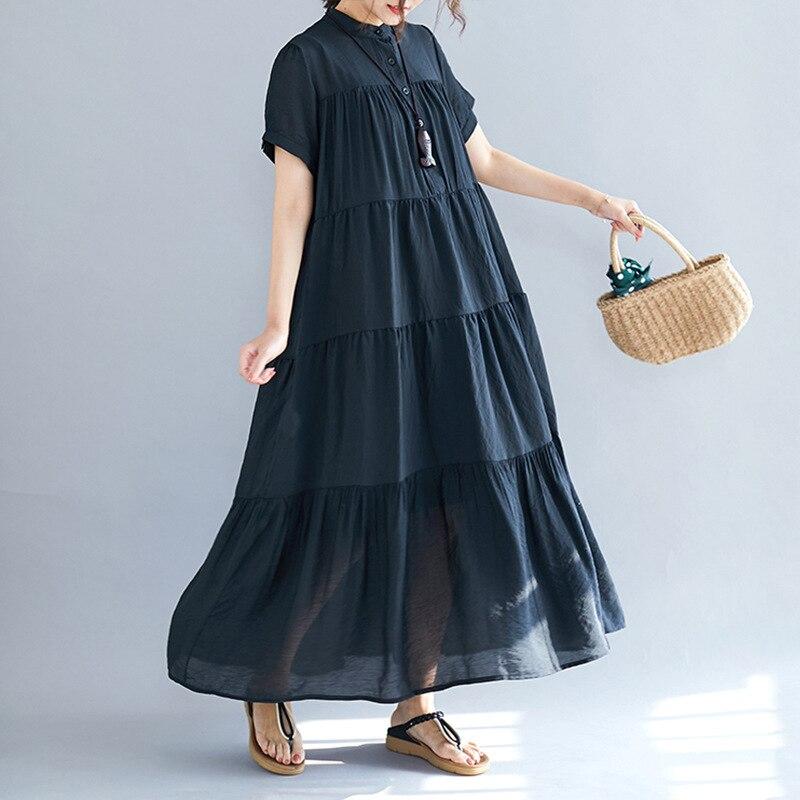 Johnature couleur unie nouveau col montant à manches courtes bouton lâche décontracté Long mince femmes robes 2019 été casual robe coréenne
