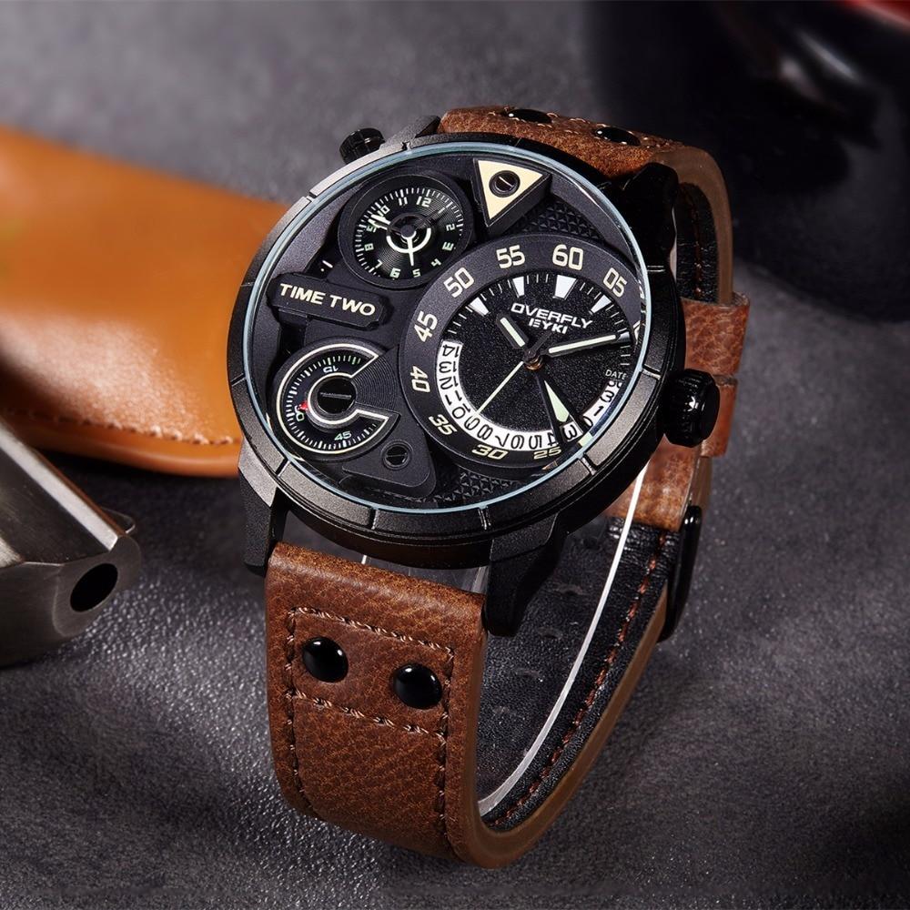 EYKI Super Big Multilayer Stereoscopic Dial Two Time Zone Display Fashion Sport Watch Men Waterproof Luminous Luxury Brand Watch