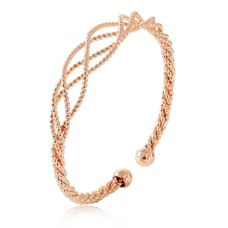 Luxury Twisted Open Cuff Bracelet Bangle Gold Rose Gold Silver Color Twisted Cuff Bracelets For Women Fashion Jewelry