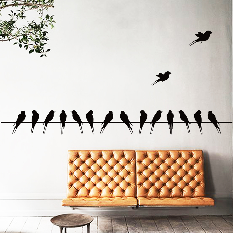 Art Design home decoration 16 swallows on line Vinyl Wall sticker PVC house decor Animal Cartoon Birds wall decals in rooms