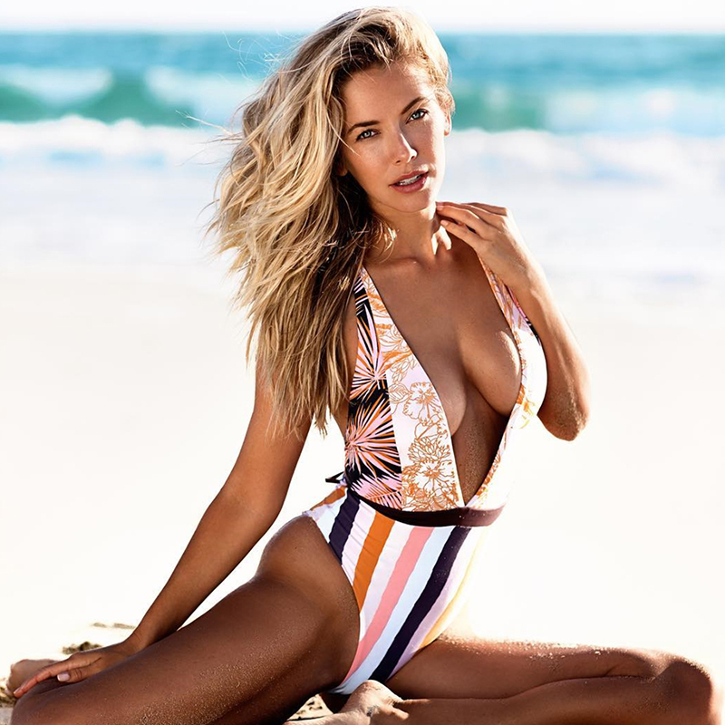 Sexy Deep V One Piece Swimsuit Women Swimwear Patchwork Monokini Floral Bath Suit Maillot De Bain Striped Beach Wear