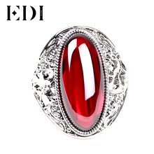 EDI Retro Vintage 925 Real Sterling Silver Ring With Female Red Garnet/Blue Boule Corundum For Women Fashion Ring Finger Jewelry