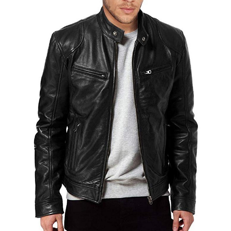 Monerffi Male Jacket Coats Collar Brown Black Plus-Size Mens Autumn 3XL Stand New-Fashion