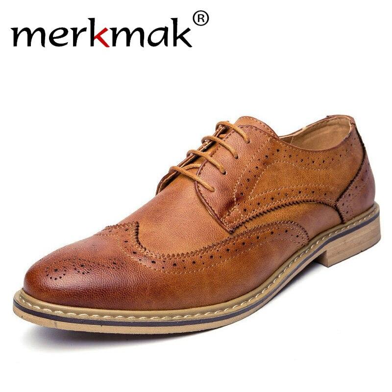 Merkmak Neue 2018 Luxus Leder Brogue Herren Wohnungen Schuhe Casual Britischen Stil Männer Oxfords Mode Marke Kleid Schuhe Für Männer