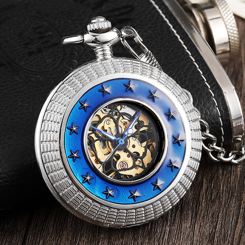 Hand Wind Mechanical Pocket Watch With Roman Numerals Star Engrave Hollow Steampunk Skeleton Fob Watch Flip Clock Box Package