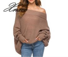 Xnxee2019 autumn and winter Europe the United States word collar bat sleeve sweater female off-the-shoulder