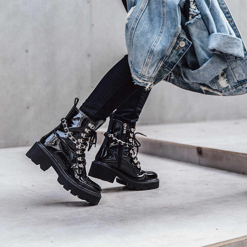 8a0cafb572b YMECHIC Autumn Ankle Combat Boots for Women Mirror Patent Leather Chains  Lace Up Black Ladies Block Heel Shoes Motorcycle Boots