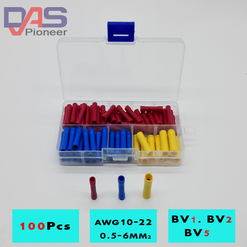 100pcs BV1 BV2 BV5 Terminator wire connector  Butt Connectors Assortment Joiner Crimp Electrical Wire Splice Terminal joiner s 5 5