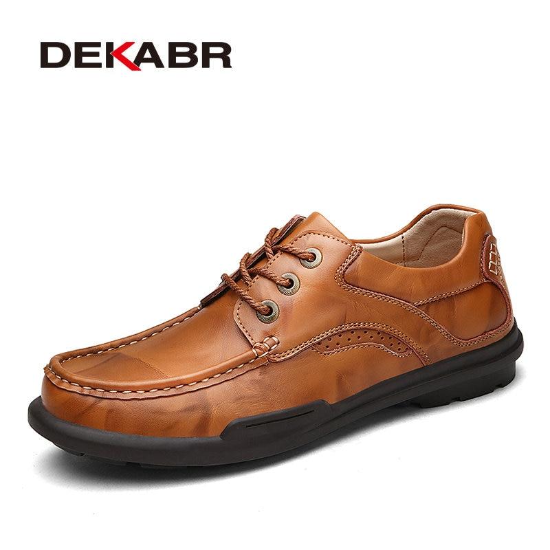 DEKABR Hombres Zapatos de Cuero Genuinos de Alta Calidad Atan Para Arriba Los Ho