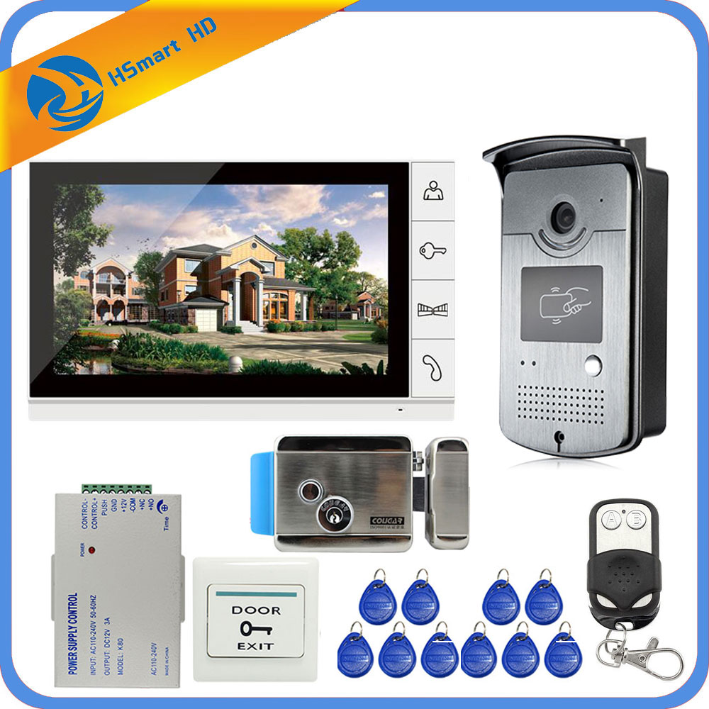 Новый проводной 9 дюймов видеодомофон домофон система 1 монитор + 1 RFID доступ ИК 700TVL камера + электрический контроль дверной замок