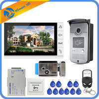 Новый проводной 9 дюймов телефон видео домофон запись Системы 1 монитор + 1 RFID Доступа ИК 700TVL Камера + электрический Управление замок