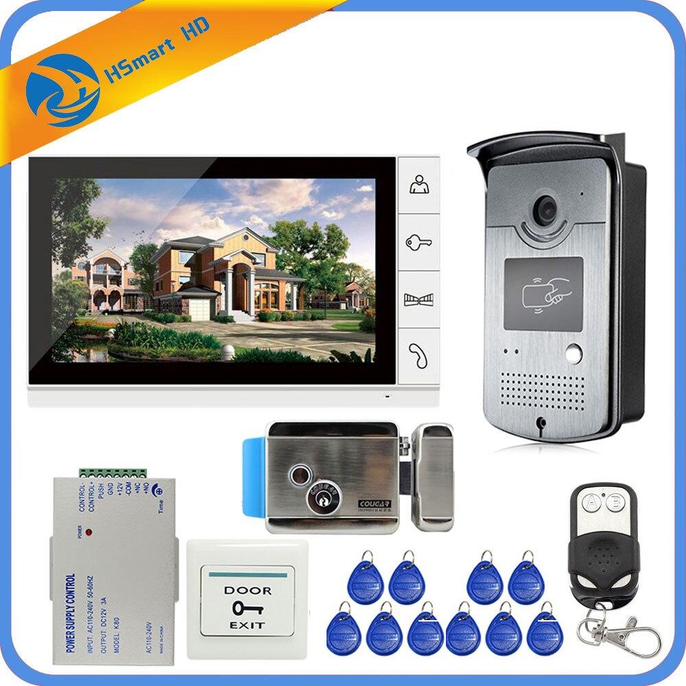 New Wired 9 zoll Video Tür Sprechanlage Entry System 1 Monitor + 1 RFID Zugang IR 700TVL Kamera + elektrische Steuerung Türschloss