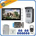 Nuevo sistema de entrada de teléfono de puerta de vídeo de 9 pulgadas con cable 1 Monitor + 1 cámara de acceso RFID IR 700TVL + cerradura de puerta de Control eléctrico