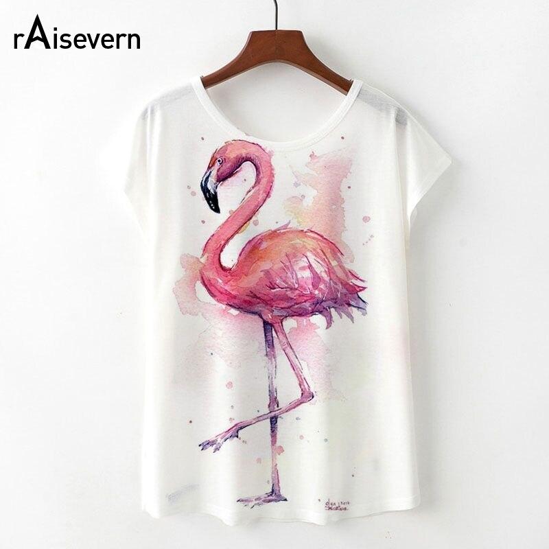 Raisevern Nouveau Kawaii Flamingo T shirt Des Femmes D'été Mignon Flamingo Licorne Cerf Imprimer T-Shirt Femme Camisetas Mujer Dropship